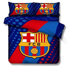 100 cotton kids boys barcelona bedding set footall team quilt