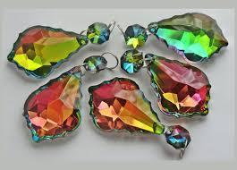 5 rainbow vitrail gothic ab chandelier leaf drops glass light