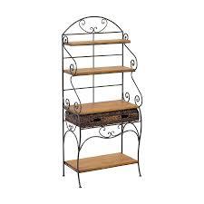 étagère en fer forgé pour cuisine etagère façon demi lune fer forgé et plateaux bois 4561