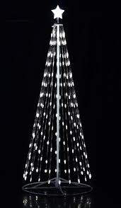 outdoor white led cone tree with collapsible base and wireless