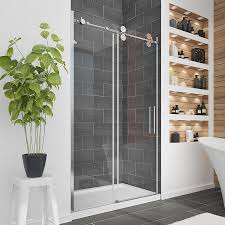 Lowes Frameless Shower Doors Shop Ove Decors Sydney 45 In To 47 5 In W Frameless Polished