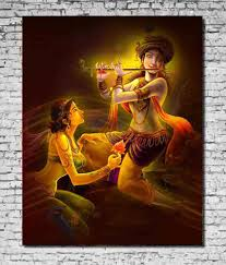 Canvas Without Frame Mesleep Canvas Flute Radha Krishna Painting Without Frame Buy
