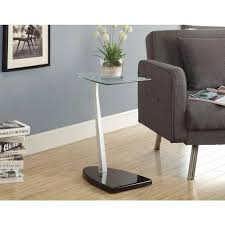 monarch specialties accent table monarch specialties black and silver glass top end table i 3047