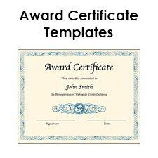 special certificate award template for excellence