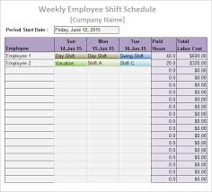 work schedule templates u2013 9 free word excel pdf format download