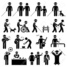 Blind People Stick Blind Man Handicap Stick Figure Pictogram Icons Royalty Free