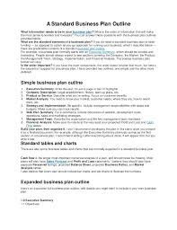 business plan outline business plan example