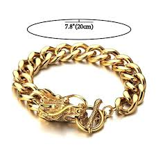 bracelet dragon images Masculine style mens gold dragon curb chain bracelet jpg
