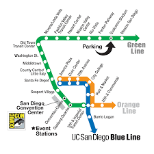 San Diego International Airport Map by Comic Con San Diego Metropolitan Transit System