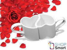 Heart Shaped Mugs Heart Shaped 2 Mugs Love Cups Coffee Tea Ceramic White Romantic
