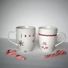 dollar store stenciled gift mugs