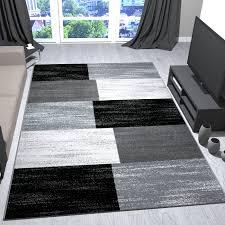 Wohnzimmer M El Modern Teppich Modern Design Grau Schwarz Weiß Meliert Kariert Kurzflor