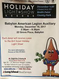 smiths point light show blood drive american legion babylon