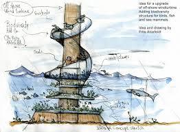 bio structure on off shore wind turbine and biodiversity boosting
