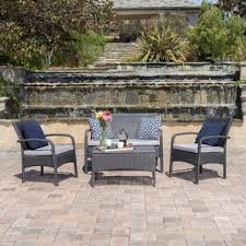 Grey Wicker Patio Furniture by Grey Conversation Sets You U0027ll Love Wayfair