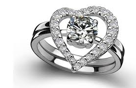 platinum rings women images Amazing two rings combine pure white gold 18k female heart shape jpg