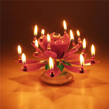 spinning birthday candle candle musical spinning lotus flower rotating happy birthday party