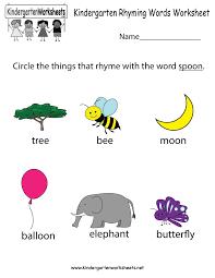 free kindergarten rhyming words worksheets understanding the