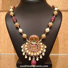 pearl ruby necklace images Gold ruby pearl necklace design south india jewels jpg