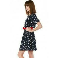 Red Sash 61 Off Everly Dresses U0026 Skirts Nwt Navy Blue Sparrow Bird Dress