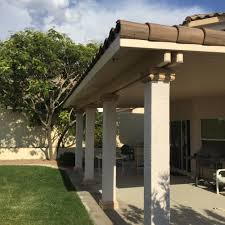 Patio Covers Las Vegas Cost by Solid Alumawood Aluminum Patio Cover Stucco Post And Cap Tile Edge