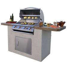 cal flame 7 ft stucco and tile bbq island with 4 burner grill in