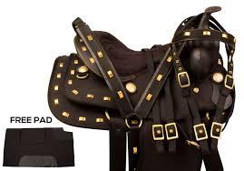beautiful black 15 16 western synthetic pleasure trail horse