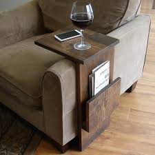 custom diy wood tv tray table with bookshelf or magazine rack for