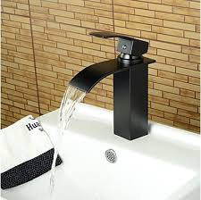 Brushed Bronze Bathroom Fixtures Contemporary Waterfall Rubbed Bronze Bathroom Basin Faucet