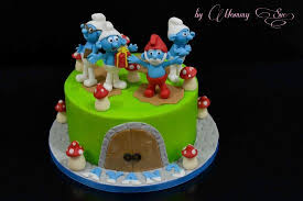 smurfs cake picture of my little baker sweets abu dhabi