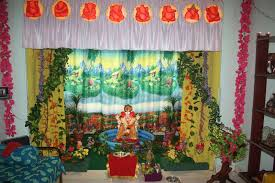 ganpati decoration ideas at home images with flowers photo