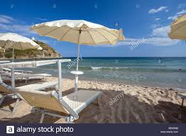 Beach Sun Umbrella Chia Beach Pula Cagliari Sardinia Italy White Sand Sun Stock