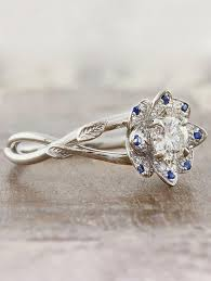 floral engagement rings helen floral diamond sapphire engagement ring ken design