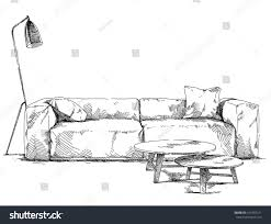 Couch Drawing Modern Interior Hand Drawing Vector Stock Vector 413433121