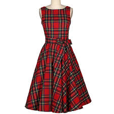 Wholesale Vintage Jewel Neck Sleeveless Plaid Belted Women A Line