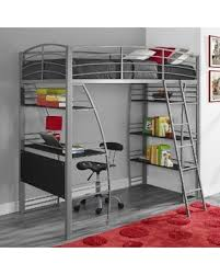 twin metal loft bed with desk and shelving find the best deals on avenue greene sansa silvertone metal grey