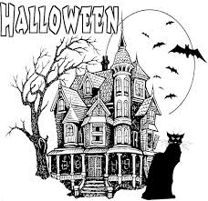 halloween coloring pages printables haunted house 3 ハロウィン