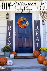 decorating house for halloween diy halloween sidelight signs and fall porch reveal bless u0027er house
