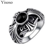 aliexpress buy mens rings black precious stones real yisoso vintage stainless steel mens rings black simulated gem