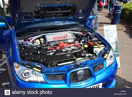 modified subaru clean spotless engine of a subaru impreza wrx sti show car at a