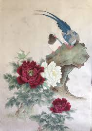 Japanese Flowers Paintings - beautiful chinese bird and flower painting chinese watercolor