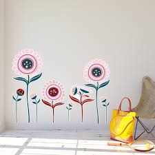 quirky flowers wall sticker red panda wall stickers 0863jo quirky flowers 747x580