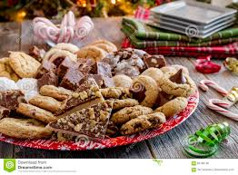 holiday cookie gift tray with assorted baked goods stock photo