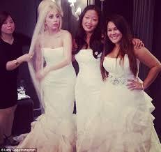 my best wedding dress gaga slips into wedding dress in snap as she denies