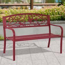 Cast Iron Loveseat Merax Classic Cast Iron Indoor Outdoor Patio Park Garden Bench Red