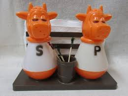 vintage plastic cow bull salt and pepper shakers with napkin