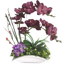 buy europe simple style artificial orchid flower with ceramics