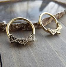 gold piercing rings images Gold nipple piercing hoops 14g captive bead rings mandala design body png