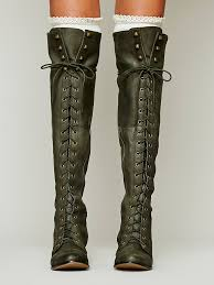 womens boots green leather 2015 army green and black leather knee high lace up boots