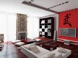 interior minimalist red and white oriental japanese style